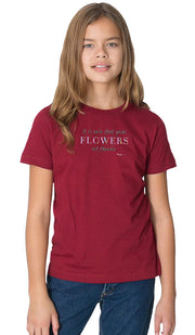Rumi Quotes Fine Short Sleeve Youth T Shirt - Flowers - Maroon