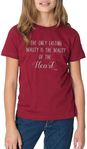 Rumi Quotes Fine Short Sleeve Youth T Shirt - Heart - Maroon