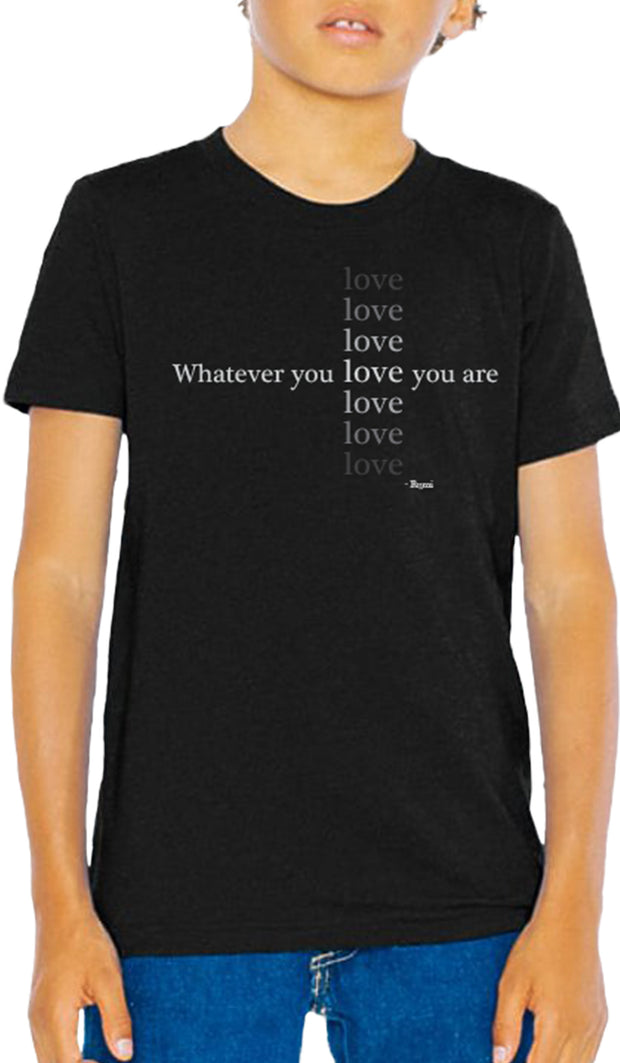 Rumi Quotes Fine Short Sleeve Youth T Shirt - Love - Black
