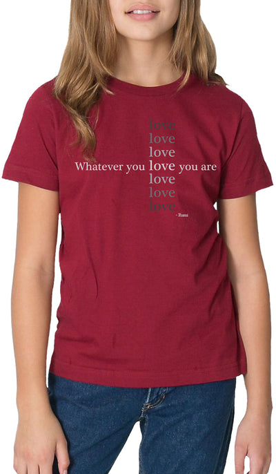 Rumi Quotes Fine Short Sleeve Youth T Shirt - Love - Maroon