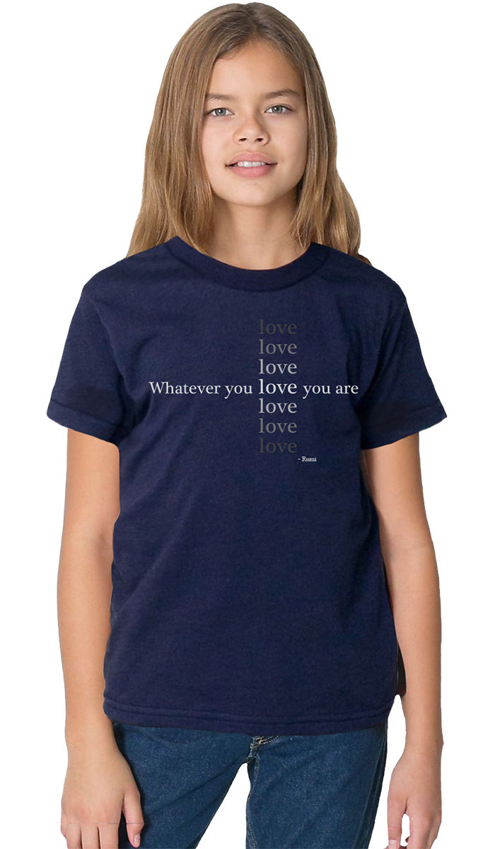 Rumi Quotes Fine Short Sleeve Youth T Shirt - Love - Navy Blue