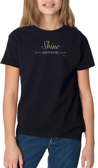 Rumi Quotes Fine Short Sleeve Youth T Shirt - Shine - Black