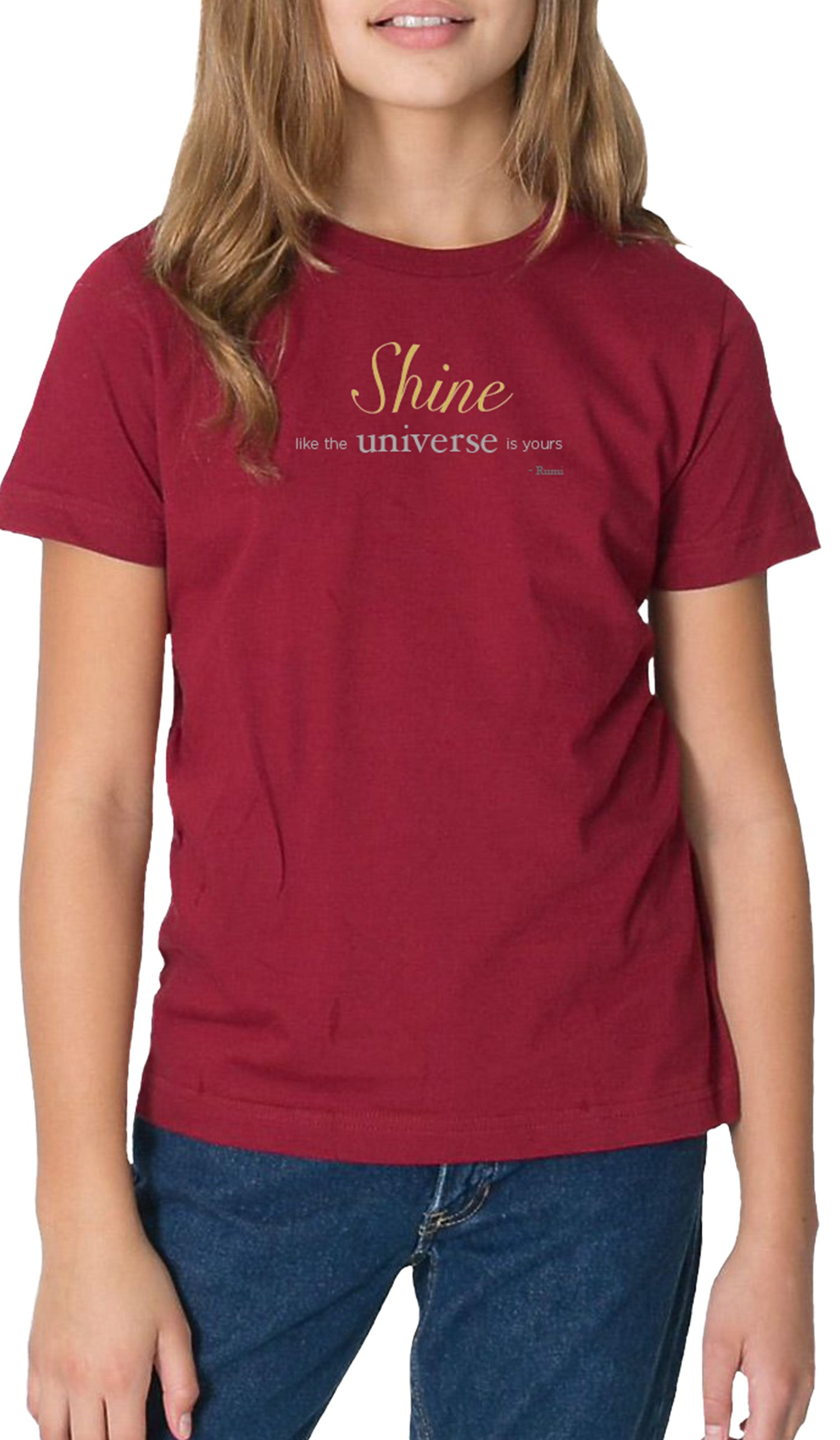 Rumi Quotes Fine Short Sleeve Youth T Shirt - Shine - Maroon
