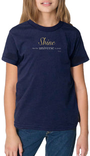 Rumi Quotes Fine Short Sleeve Youth T Shirt - Shine - Navy Blue