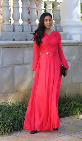 Saba Long Sleeve Silk Chiffon Modest Muslim Formal Evening Dress - Coral Pink