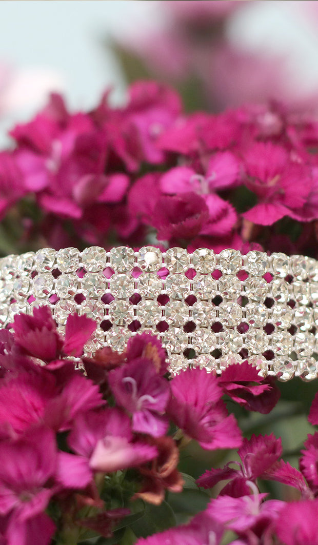 Sparkling Rhinestone Choker Necklace - Silver