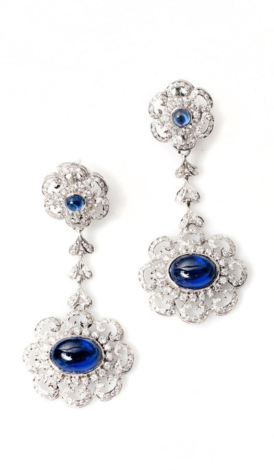 Sterling Silver Diamond-Look Sapphire long Earrings - ARTIZARA.COM