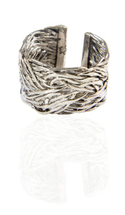 Sterling Silver Braided Kun Fayakun Band Ring- Silver