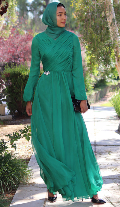 Saba Long Sleeve Silk Chiffon Modest Muslim Formal Evening Dress - Emerald Green