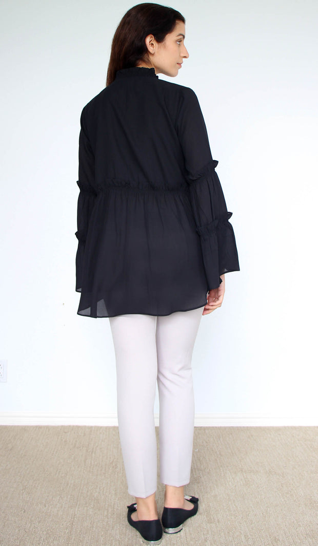 Saba Long Modest Tunic Dress - Black