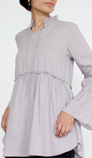 Saba Long Modest Tunic Dress - Gray