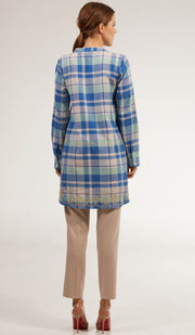 Sabeen Long Cotton Plaid Embroidered Tunic Dress - Blue
