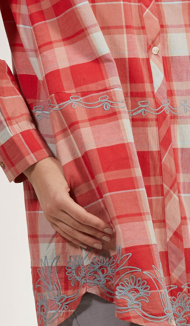 Sabeen Long Cotton Plaid Embroidered Tunic Dress - Clay