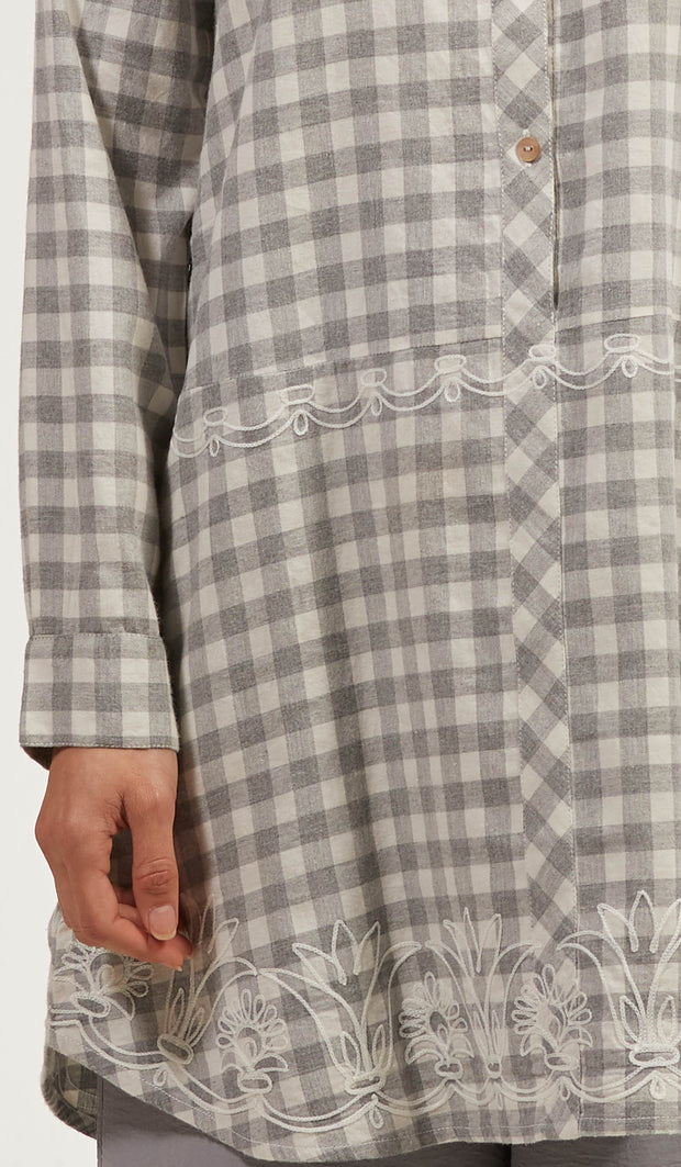 Sabeen Long Cotton Plaid Embroidered Tunic Dress - Gray