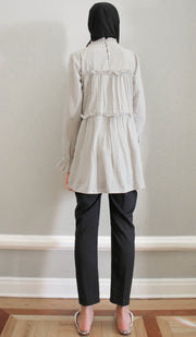 Safin Embroidered Cotton Modest Tunic - Silver