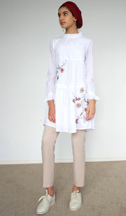 Safin Embroidered Cotton Modest Tunic - White