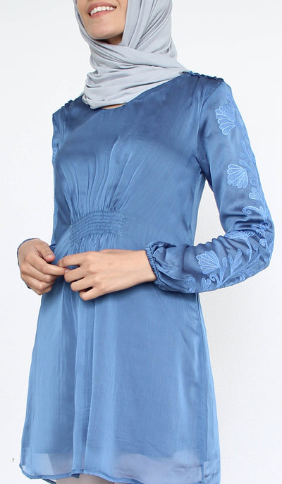 Salmin Gold Embellished Long Modest Tunic - Blue