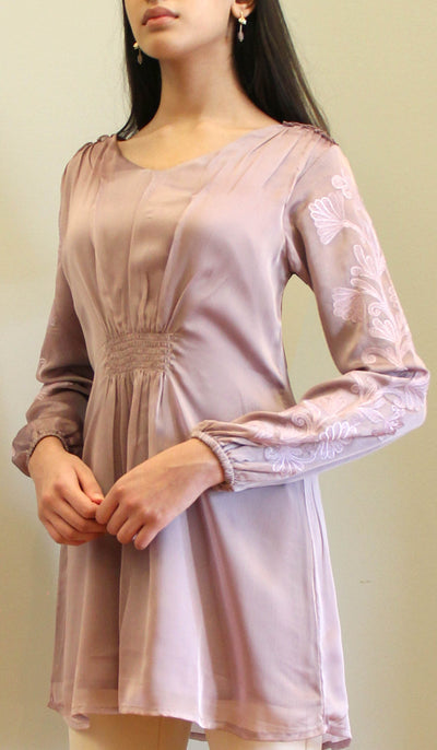 Salmin Gold Embellished Long Modest Tunic - Mauve