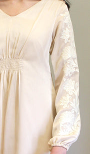 Salmin Gold Embellished Long Modest Tunic - Cream