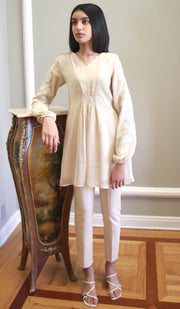 Salmin Embroidered Long Modest Tunic - Cream