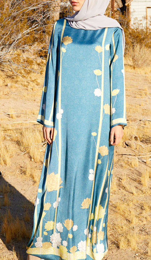 Seek Formal Modest Maxi Dress Kaftan - Blue