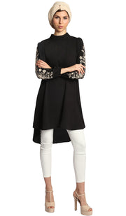 Seher Embroidered Modest Midi Tunic Dress - Black - PREORDER