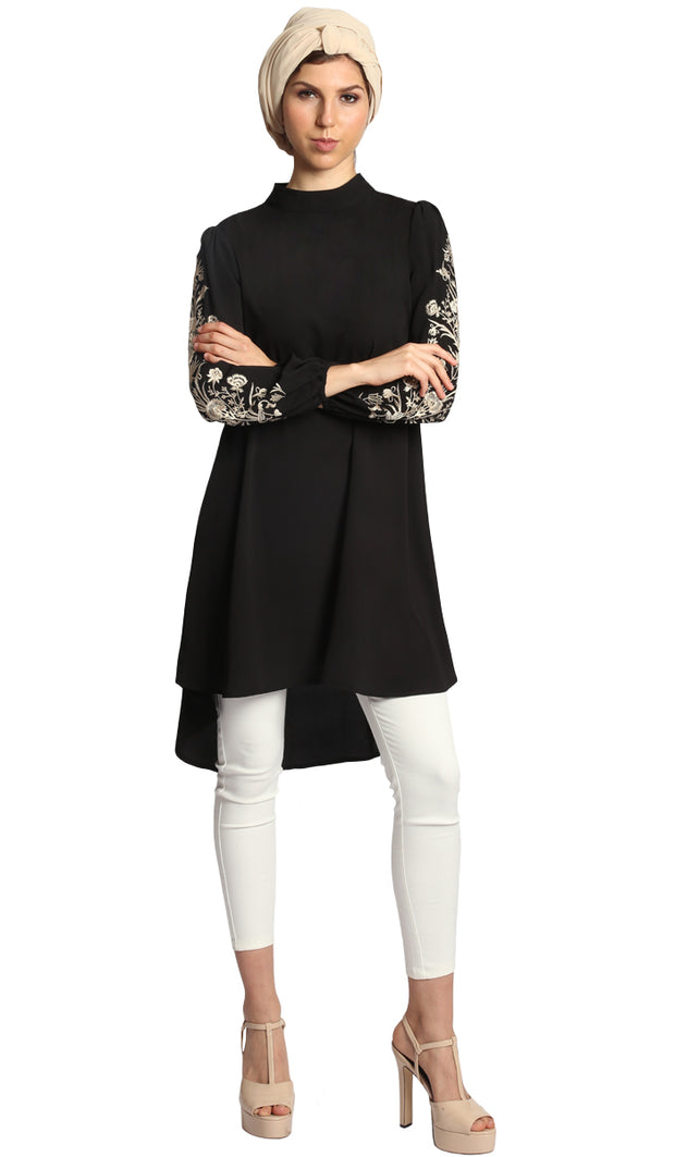 Seher Embroidered Modest Midi Tunic Dress - Black