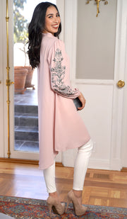 Seher Embroidered Modest Midi Tunic Dress - Blush