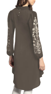 Seher Embroidered Modest Midi Tunic Dress - Mocha