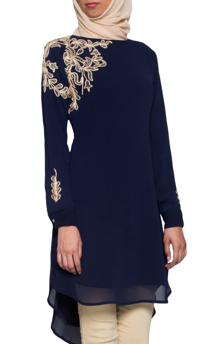 Selena Embroidered Long Modest Muslim Tunic - Navy Blue