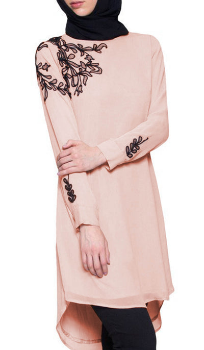 Selena Embroidered Long Modest Tunic - Blush Pink