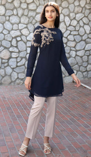 Selena Embroidered Long Modest Tunic - Navy Blue