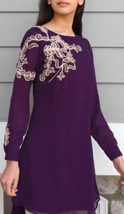 Selena Embroidered Long Modest Tunic - Purple