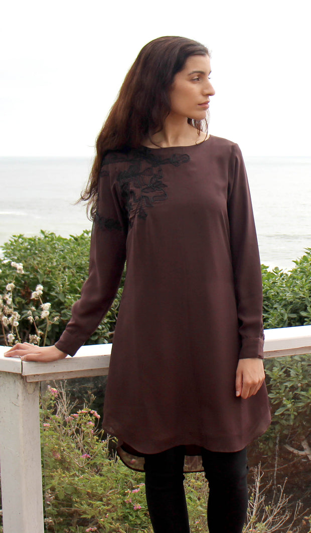 Selena Embroidered Long Modest Tunic - Cocoa Brown