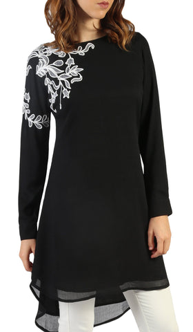Selena Embroidered Long Modest Tunic - Black