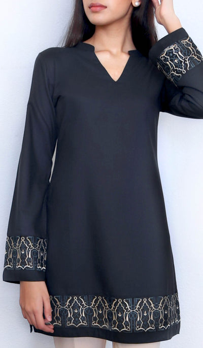 Selma Embroidered Mostly Cotton Modest Tunic - Black