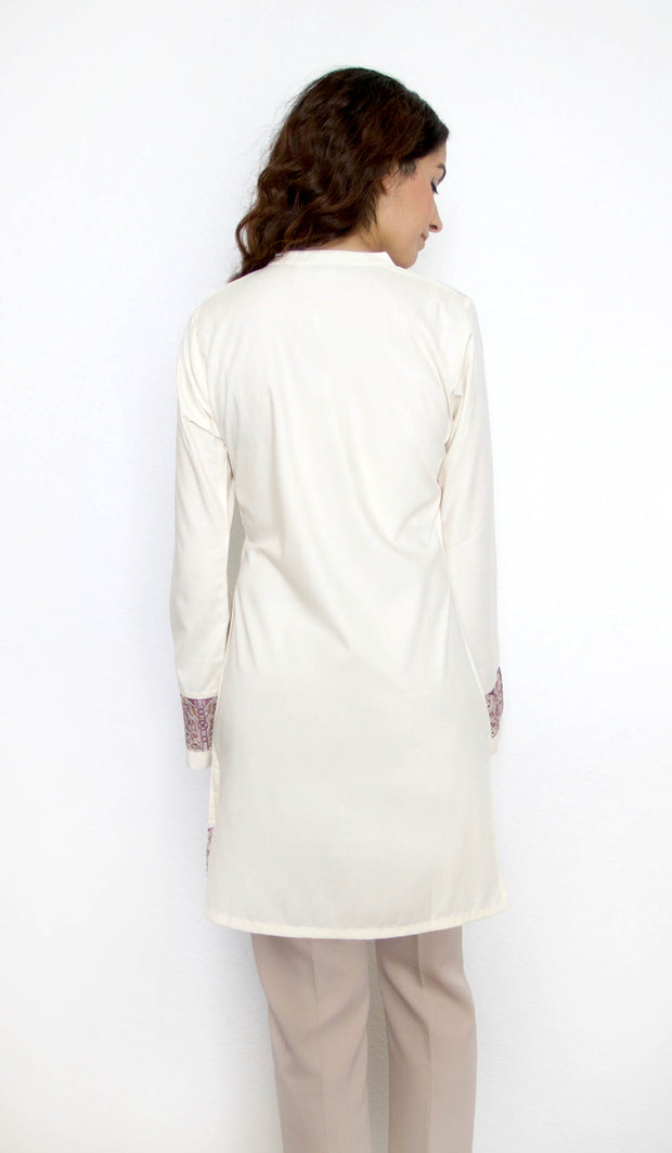 Selma Embroidered Mostly Cotton Modest Tunic - Cream - PREORDER