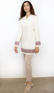 Selma Embroidered Mostly Cotton Modest Tunic - Cream