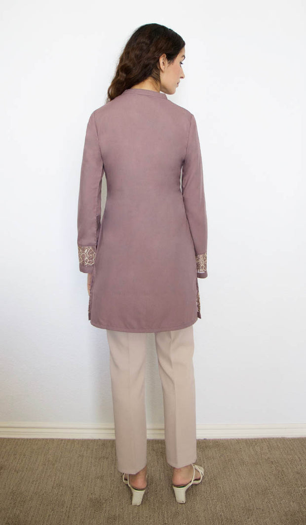 Selma Embroidered Mostly Cotton Modest Tunic - Mocha - PREORDER