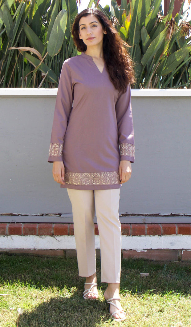 Selma Embroidered Mostly Cotton Modest Tunic - Mocha