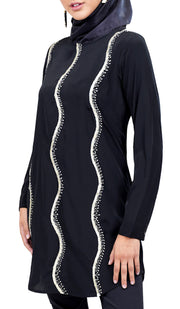 Selmi Embroidered Formal Long Modest Tunic - Black