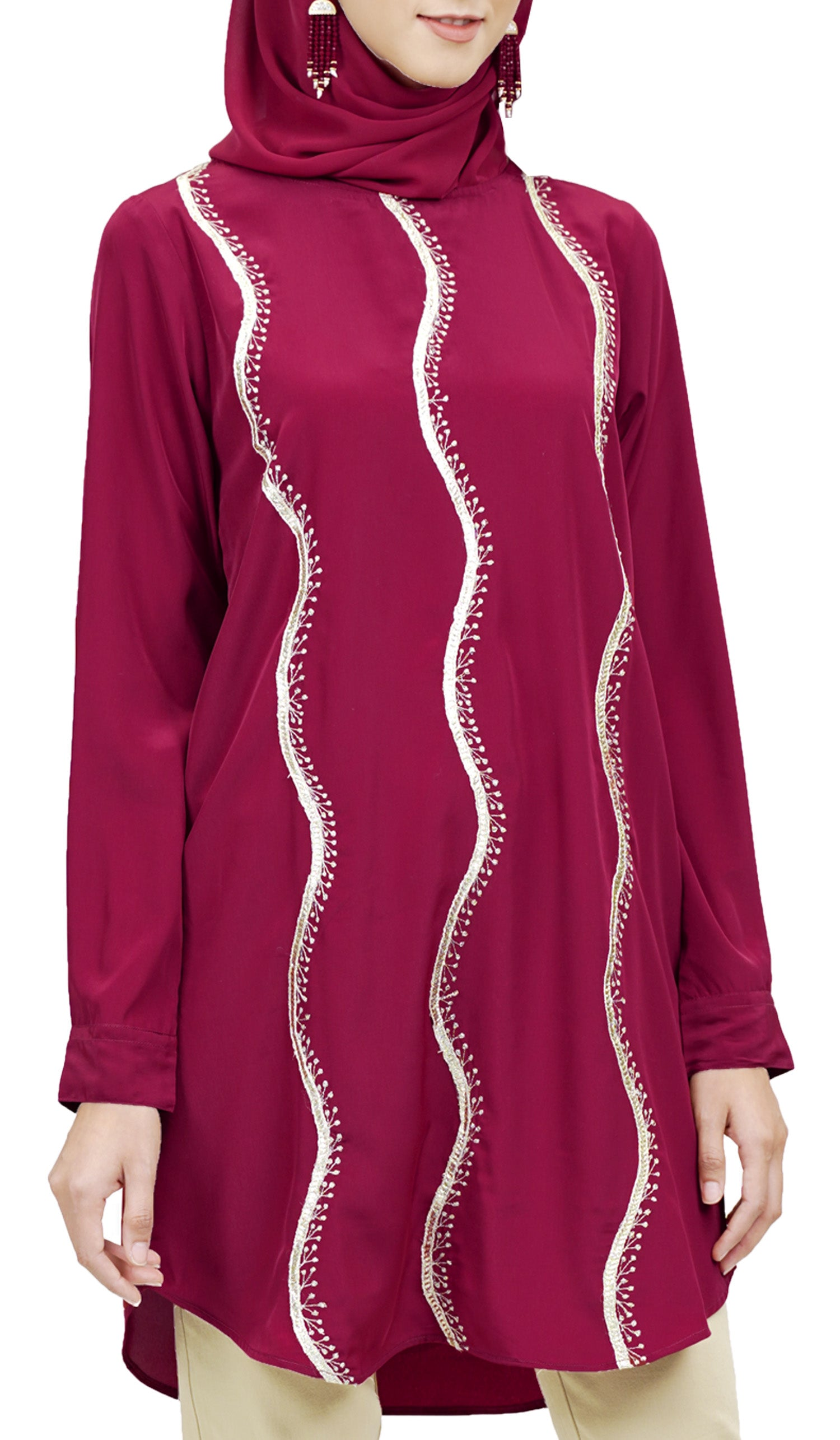 Selmi Embroidered Formal Long Modest Tunic - Maroon
