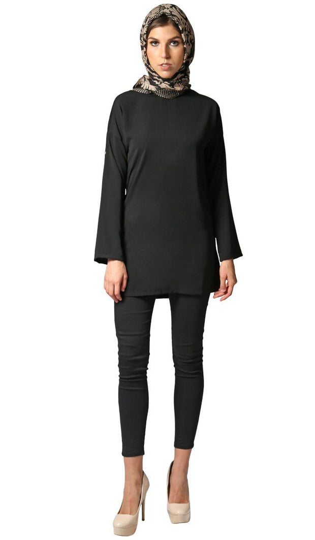Sera Long Modest Two Way Tunic - Black