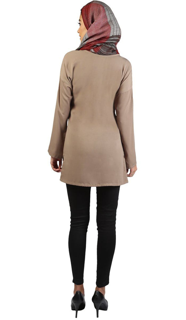 Sera Long Modest Two Way Tunic - Mocha Brown