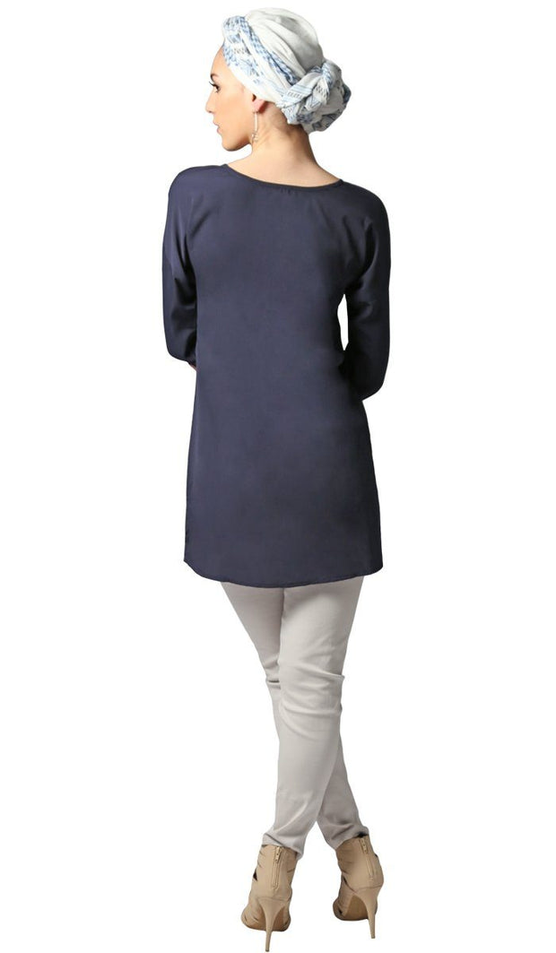Sera Long Modest Reversible Buttondown Tunic - Navy Blue