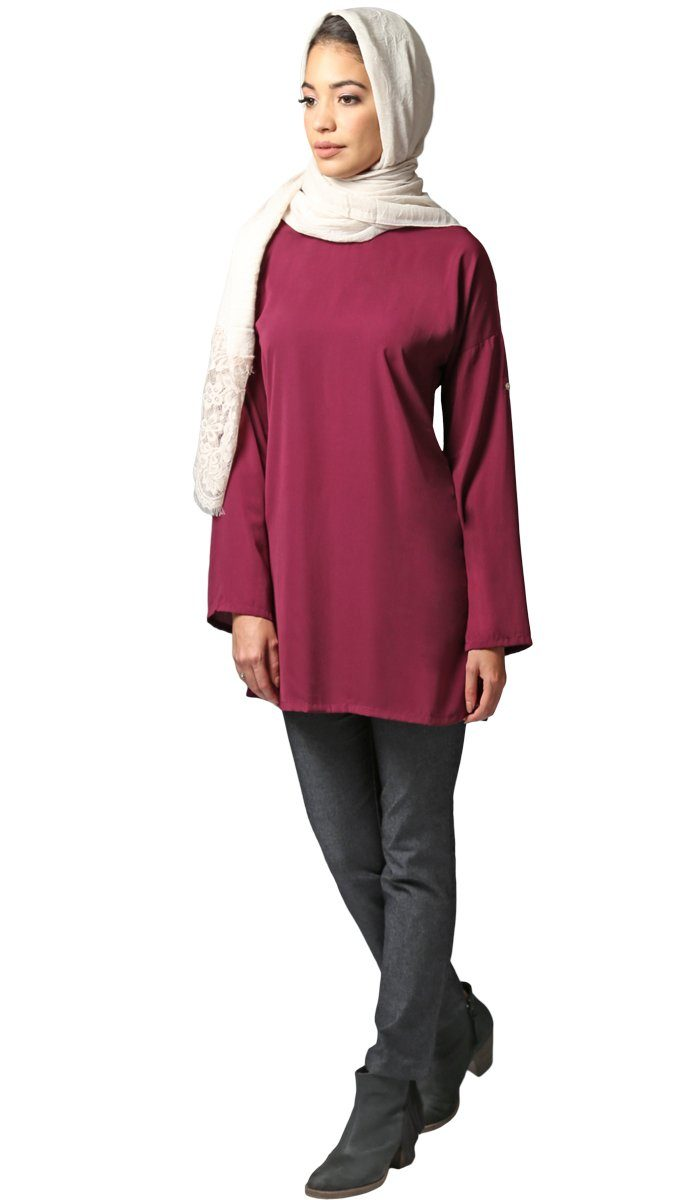 Sera Long Modest Reversible Buttondown Tunic - Purple Orchid