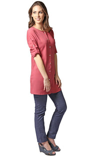 Sera Long Modest Reversible Buttondown Tunic - Rose Pink