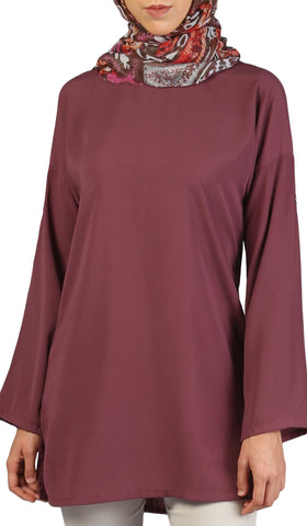 Sera Long Modest Reversible Buttondown Tunic - Mauve Pink