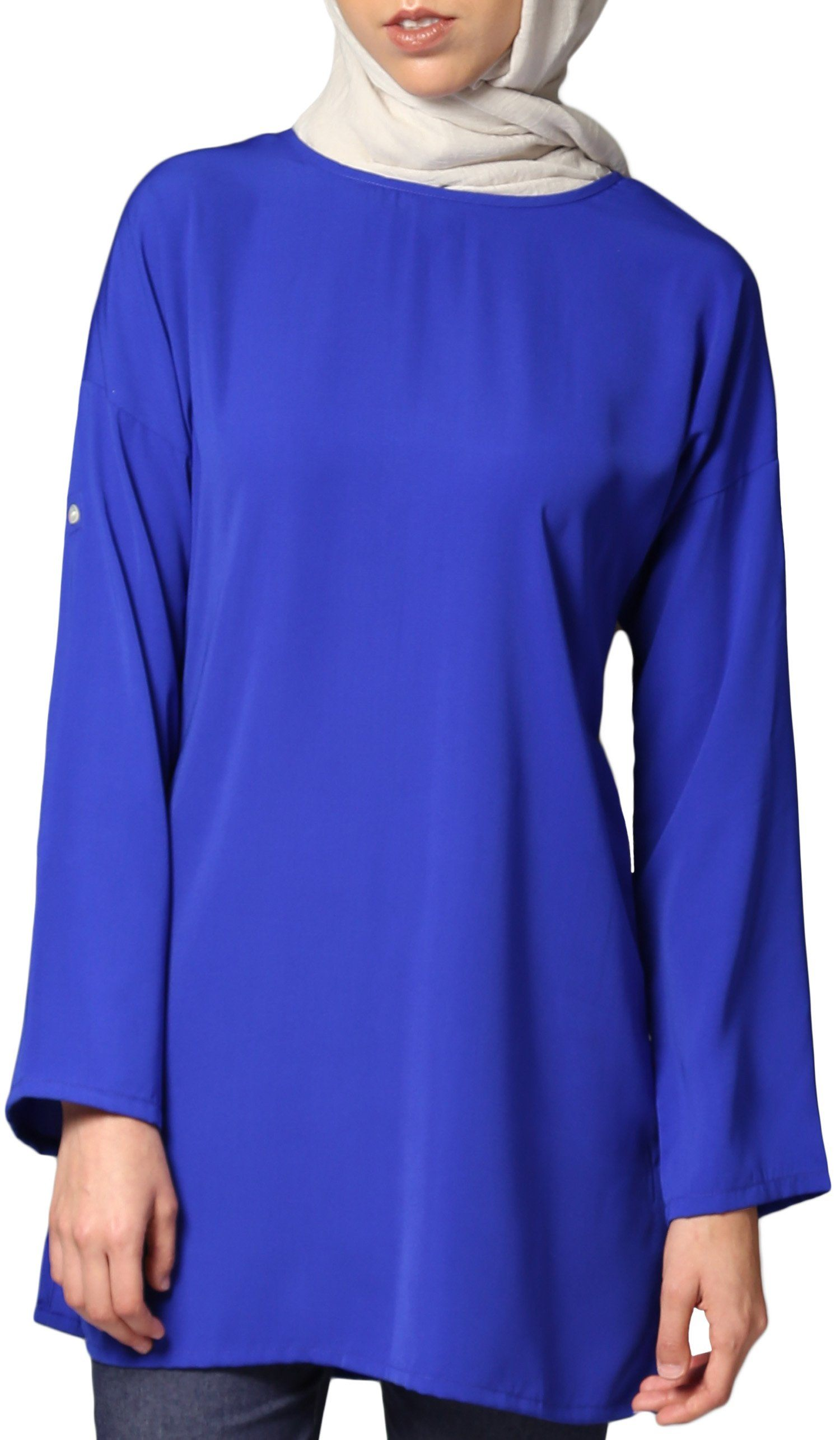 Sera Long Modest Reversible Buttondown Tunic - Royal Blue