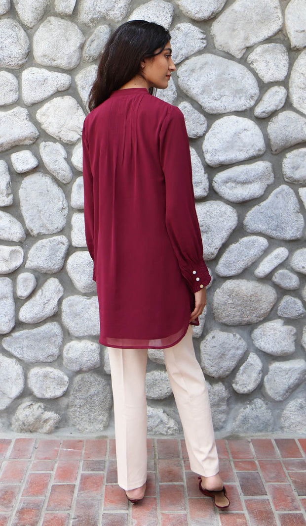 Shaza Embroidered Formal Modest Tunic - Maroon - PREORDER